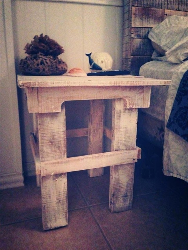 Тумба из поддонов  Add Beauty and Decor to Room with Pallet Nightstands
