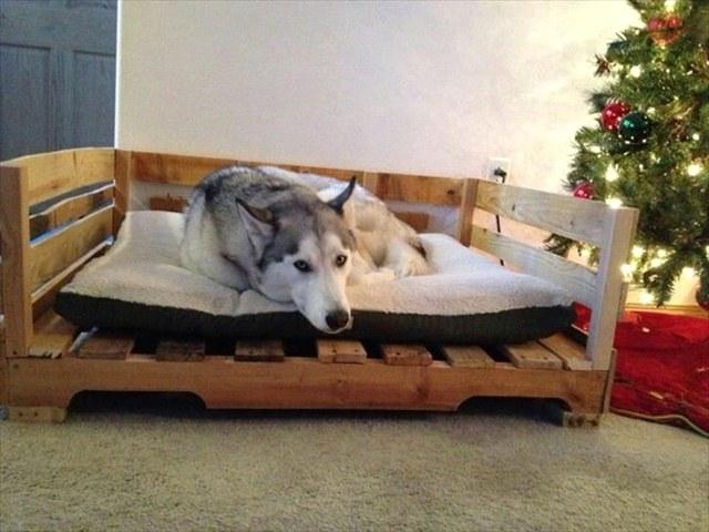 Кровать для собаки из поддонов